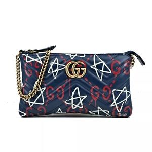 💙❤️NWT Gucci Clutch Marmont Ghost Blue/Red Bag